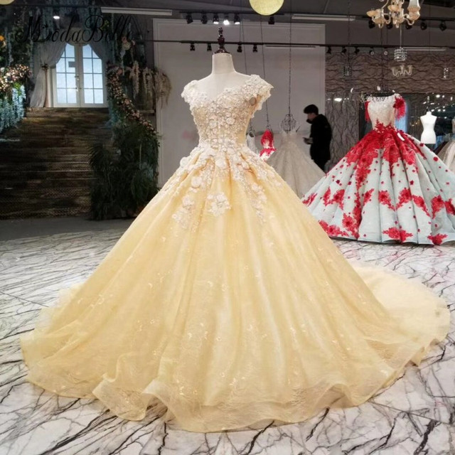 f11ad7128f7 modabelle Lace Prom Dresses Luxury 2018 Appliques 3D Flowers Beaded Floral  Light Yellow Ball Gown Women Formal Dress Evening