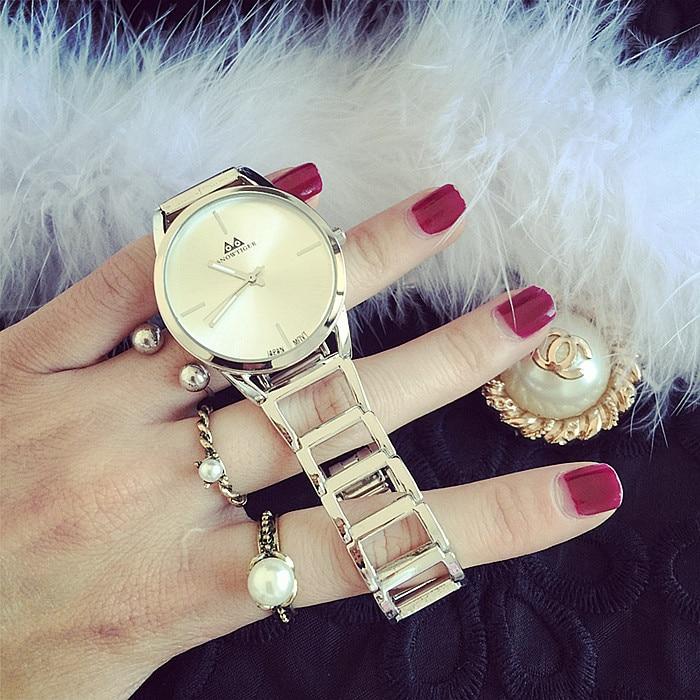 Karšto pardavimo Ženevos aukso sidabro moterų suknelė žiūrėti - Vyriški laikrodžiai - Nuotrauka 3