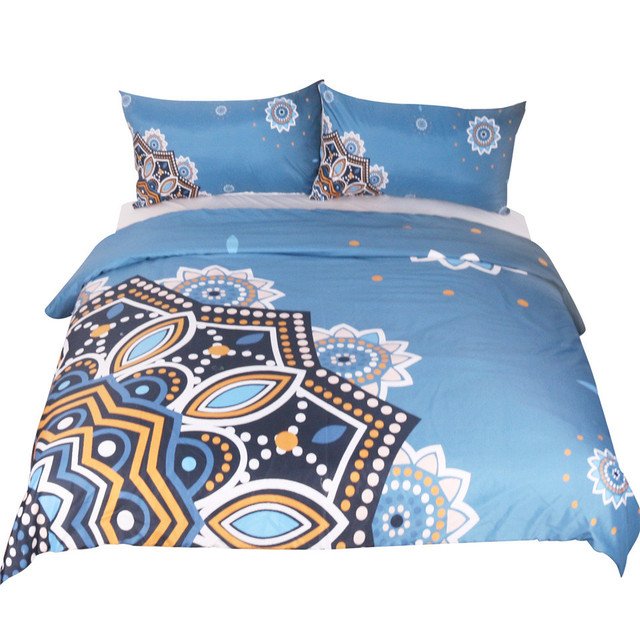 3 PCS Super Soft Duvet Cover Set with 2 Pillow, Mandala Blue Pattern Bohemia Exotic Twin Full Queen King 4 Size Bedding Sets