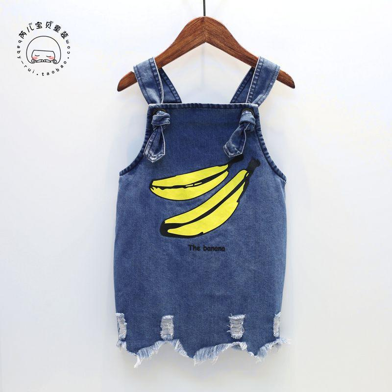item name 2017 new baby girls clothes denim girls dress sleeveless cute banana print kids dress for girl holes style infant