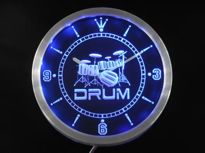 Nc0406 Band Drum Room Rock n Roll Music Neon Sign Horloge Murale LED