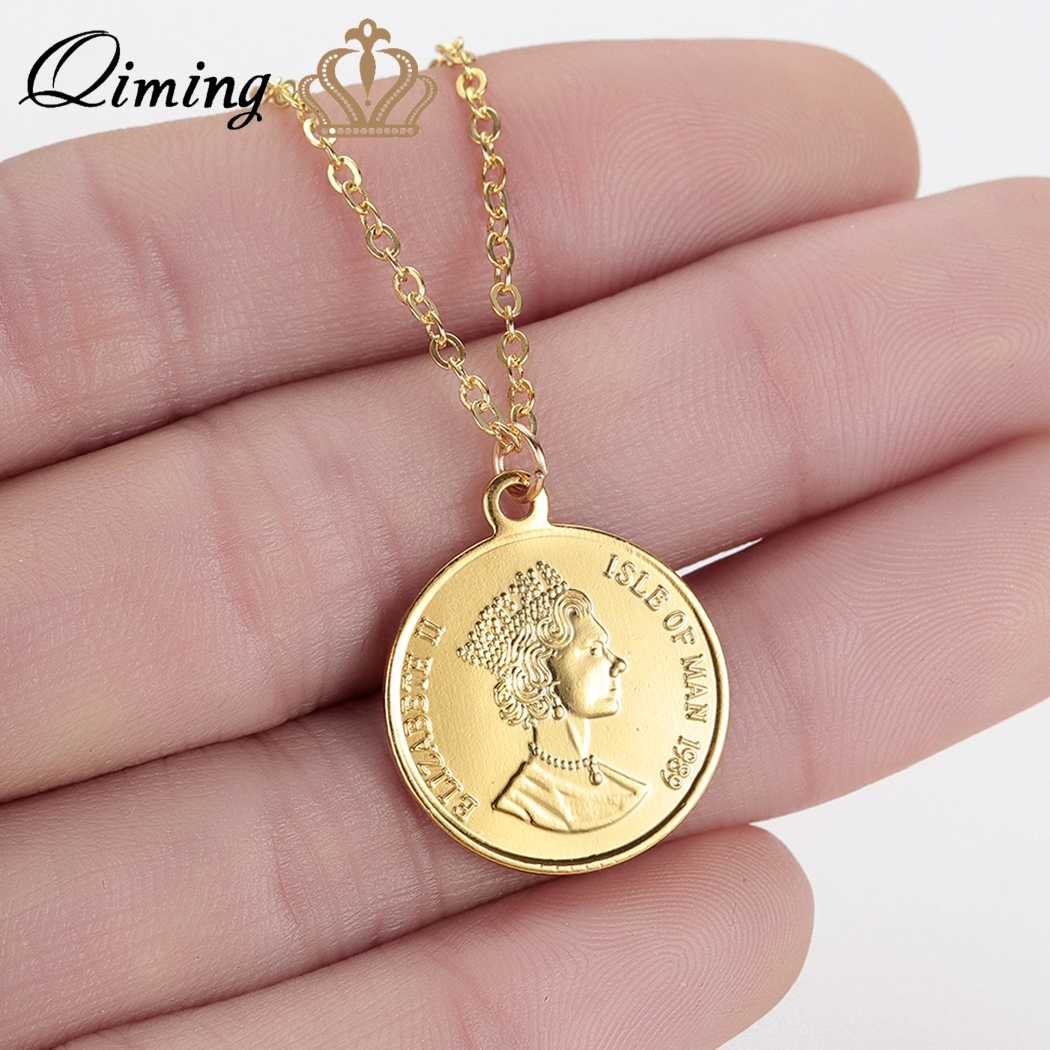 QIMING Woman Coin Necklace Golden Color Ten Cents Coin Sea Spirit Ngoreru Elizabeth Isle Of Women Statement Necklace