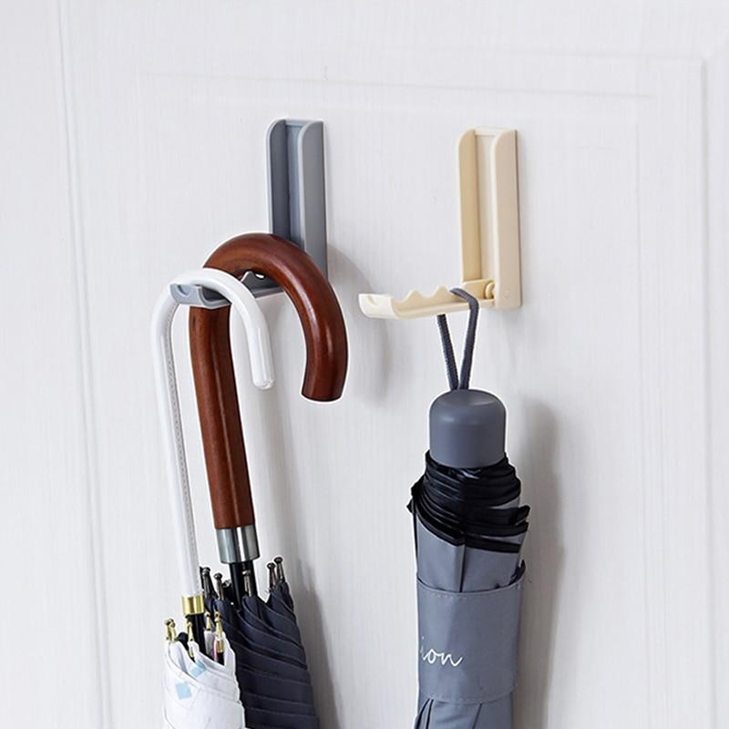 Towel Clothes Umbrella Storage Rack Versatile Sticky Wall Hanging Hook Foldable Self Adhesive Rotating Racks Door Hook Hanger