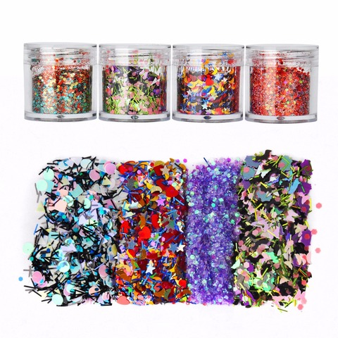 8 Boxes Mix Shape Colorful Holographic Nail Glitter Sequins 3D Glass Nail Art Foils Flakes Aurora Colorful Manicure Decoration Islamabad