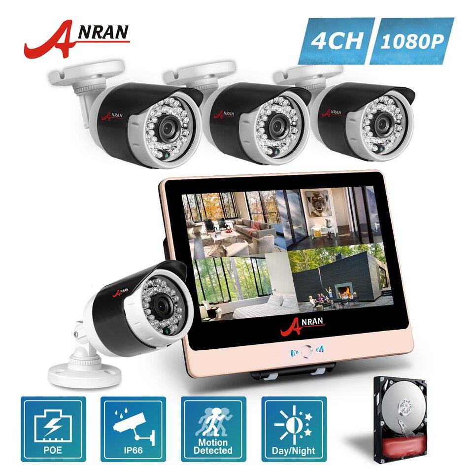 4CH POE NVR ANRAN P2P 1080 P HD LCD Monitor 36 IR Night Impermeável ao ar livre FTP POE Câmeras IP de Segurança Home CCTV Sistema Com HDD