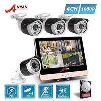 ANRAN P2P 1080P HD 4CH POE NVR LCD Monitor 36 IR Night Outdoor Waterproof FTP Security