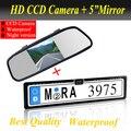 """Promotion2 1 HD CCD European Car License cámara de visión trasera + 5 """" Monitor del espejo de coche, marco de la matrícula aparcamiento Monitor de la cámara"""