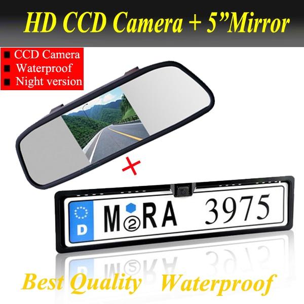 Promotion2 in 1 HD CCD European Car License rear view camera 5 Car Mirror Monitor license