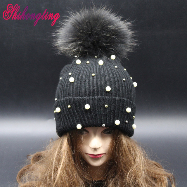 Pearl Winter Handmade Hat Really Raccoon Fur Ball Knitted Caps Brand 2016 New Hip-hop Style Hot Sale Gorros For Women ZZM004