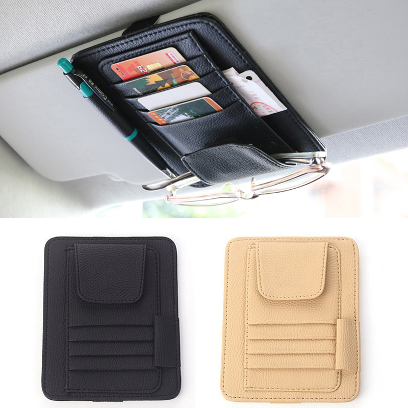Car Sun Visor Card Holder Storage Bag For Mercedes Benz W205 W203 W204 W212 For Audi A4 A3 Q5 For BMW E39 E46 E60 E90 E91 F30 image