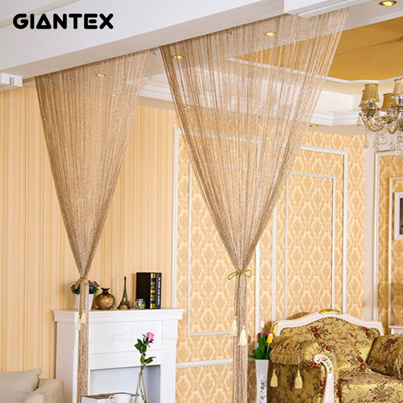 GIANTEX 2.9x2.9m Shiny Tassel Flash Silver Line String <font><b>Curtain</b></font> Window Door Divider Sheer <font><b>Curtains</b></font> Valance Home Decoration U0978
