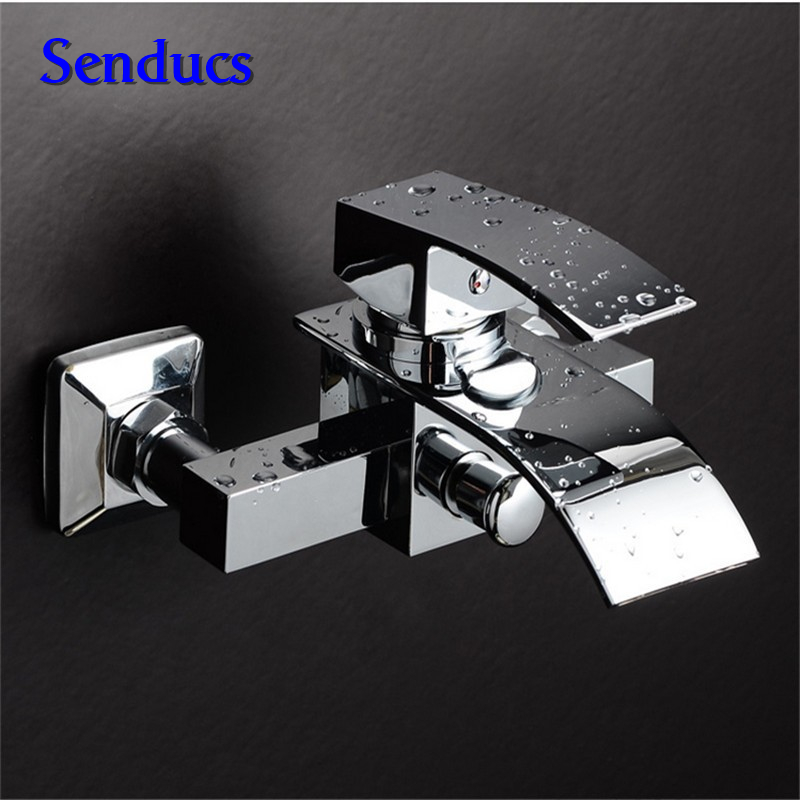 Free shipping senducs wall mounted waterfall mixer tap with solid brass bathroom waterfall faucet by chrome basin sink faucet us free shipping wholesale and retail chrome finish bathrom sink basin faucet mixer tap dusl handle three holes wall mounted
