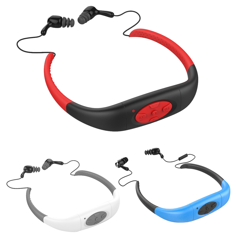 IPX8 Waterproof 8GB Underwater Sport MP3 Music Player Neckband Stereo Earphone Audio Headset with FM for Diving Swimming
