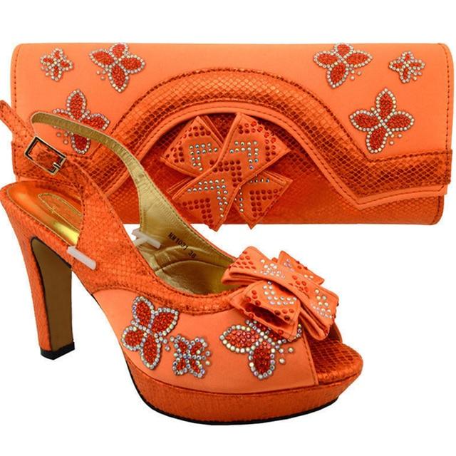 69a1c1834 Senhoras Sapatos De Couro Italiano e Saco de Definir a Cor Laranja Sapatos  de Festa de