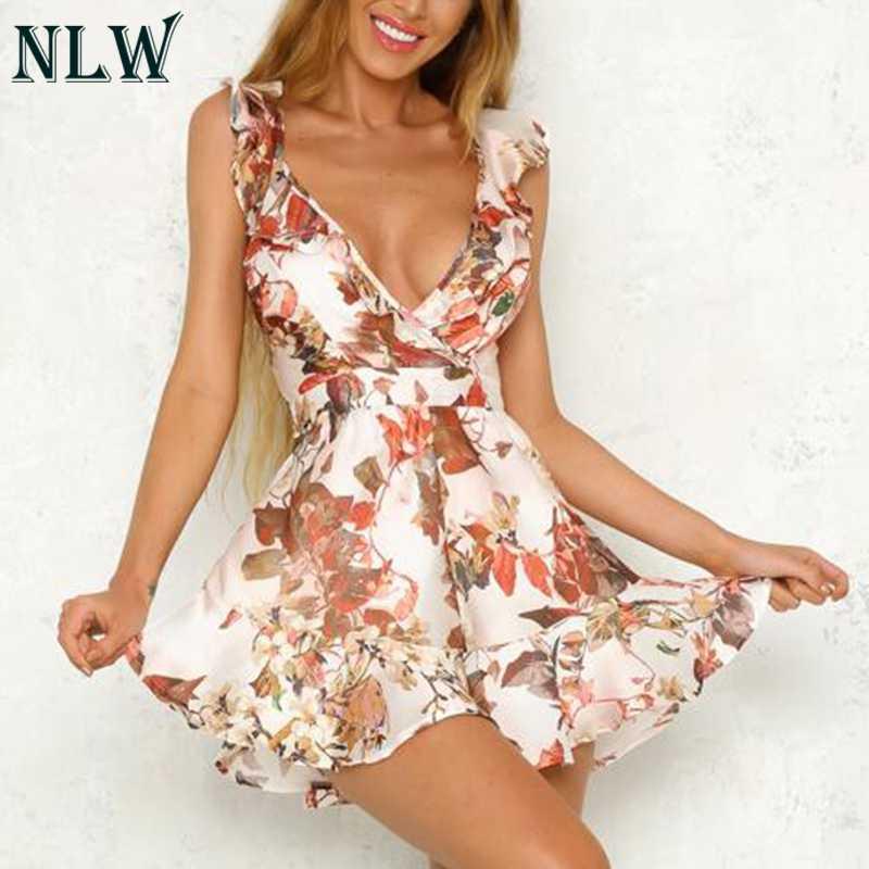 9ccc64943b7 NLW White Floral Ruffle Summer Playsuit Women V Neck Peplum Short Satin  Jumpsuit 2018 Sexy Romper