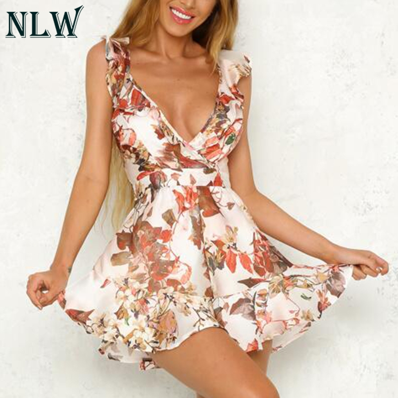 NLW White Floral Ruffle Summer Playsuit Women V Neck Peplum Short Satin   Jumpsuit   2019 Sexy Romper Tie Backless Beach Overalls