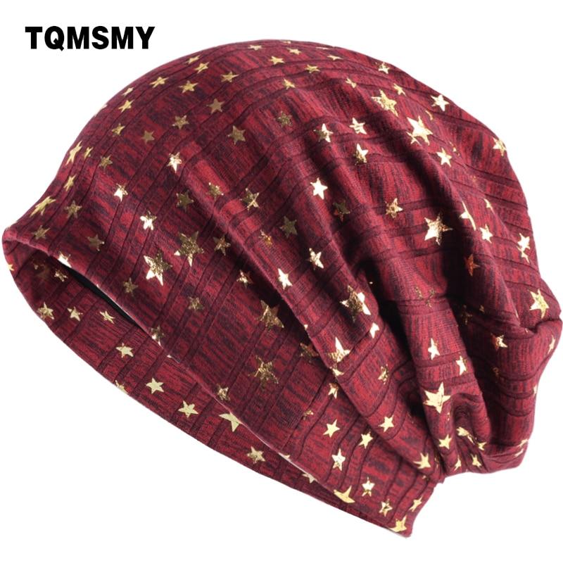 TQMSMY Quality Spring Womens Hats printing gold star Knitting   Skullies     Beanies   for Women Men Hip Hop Baggy Gorros Bonnet TMC58