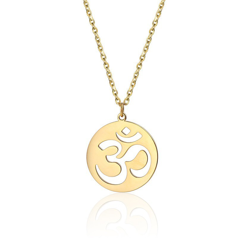 Us 2 49 Dainty Om Necklace Yoga Pendant Inspirational Jewelry Gift For Yogi Lover Aum Ohm Symbol In Steel Chain
