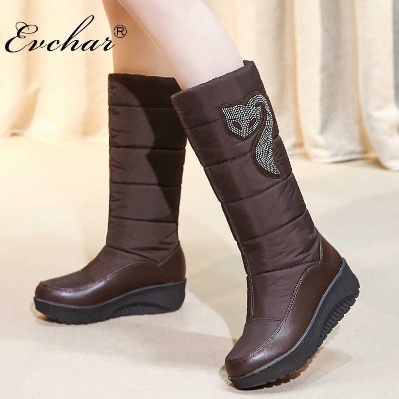 74bf6e907 EVCHAR/новые женские зимние сапоги, обувь высокого качества, теплые зимние  сапоги до середины