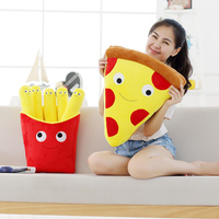 GGS 3D 50CM Cute Cartoon Expression Pizza French Fries Cushions Creative Pizza Fries Stuffed Plush Toys