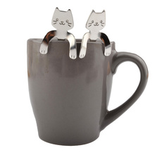 Cat Shaped Stainless Steel Long Handled Coffee and Tea Spoon