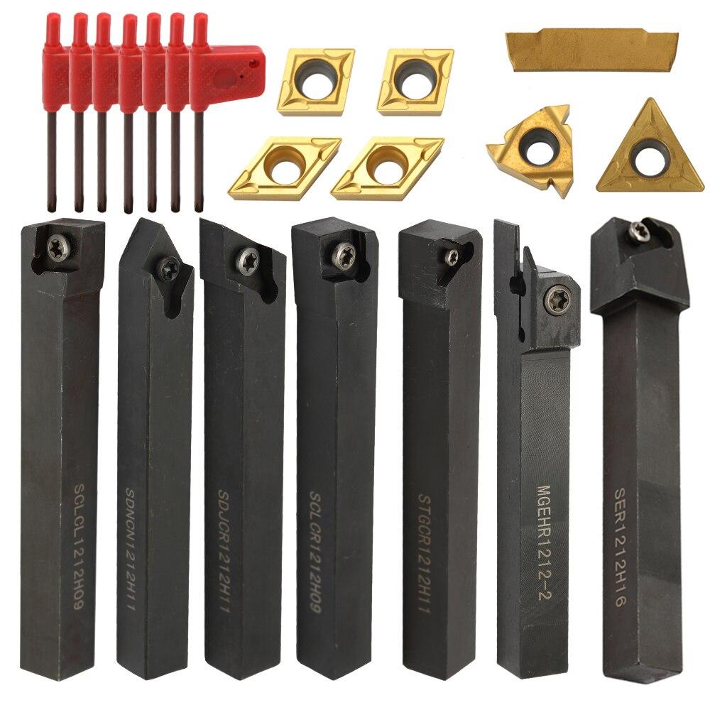 Herramientas de torneado multifunción Meterk 21 Uds., soporte de insertos de carburo sólido, barra de perforación con llaves, cortador de torno