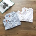 Spring Autumn New Kid-mother Korean Cotton Embroidery Carrot Bunny Lapel Shirt Clothing White Blue