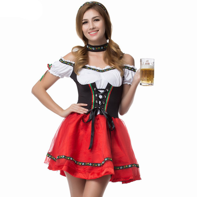 Hot Sale German Oktoberfest Wench Dirndl Costume Adult Beer Maid Heidi Fancy  Dress Cosplay Carnival Party Uniforms aa895c57e6a8