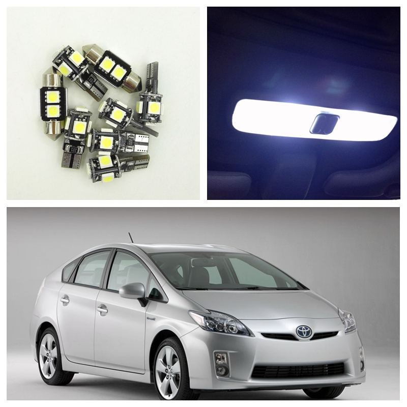 8 Pcs White LED Lights Interior Package Kit For 2004-2012 Toyota Prius PriusC PriusV Map Dome License Plate Light Toyota-B-09 10pcs xenon white car interior led bulbs package kit for 2006 2012 toyota rav4 map dome license plate light toyota b 10