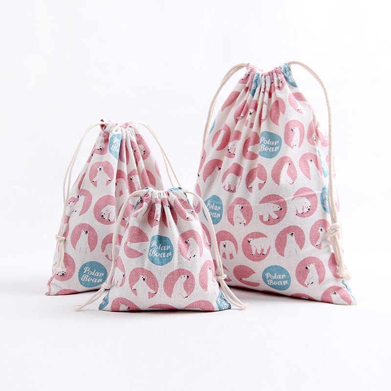 YILE Handmade Cotton Linen Drawstring Party Gift Bag Multi-purpose Pouch Print Polar Bear Pink Size-choosing 8129g