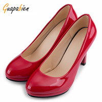Beleza Spring Fall Casual Women Office Pumps Elegant Ladies Solid Shallow Mouth Round Toe Patent Leather