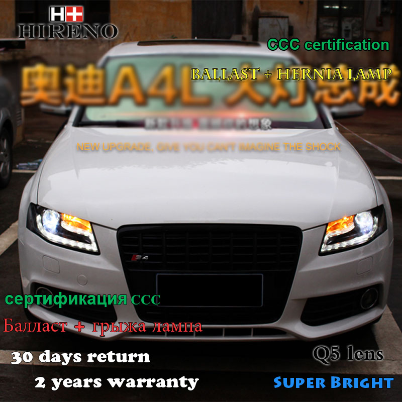 Hireno Car styling Head lamp for 2009-12 Audi A4 B8 Headlights LED Headlight Assembly DRL Angel Lens Double Beam HID Xenon 2pcs 2pcs purple blue red green led demon eyes for bixenon projector lens hella5 q5 2 5inch and 3 0inch headlight angel devil demon