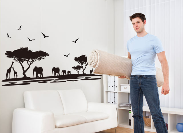 [La Fundecor] DIY negro elefante safari animal pegatinas de pared para niños hab