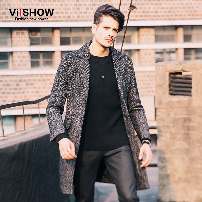 Viishow Winter Long Coat Male Long Trench Korean Style Fashion Mens Jacket Trench Coat for Men