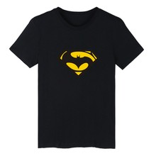 batman vs superman 4XL Black T-shirt Men Famous Brand and Super Man Short Sleeve Men TShirt Short Sleeve in XXS Cotton Tees xxs