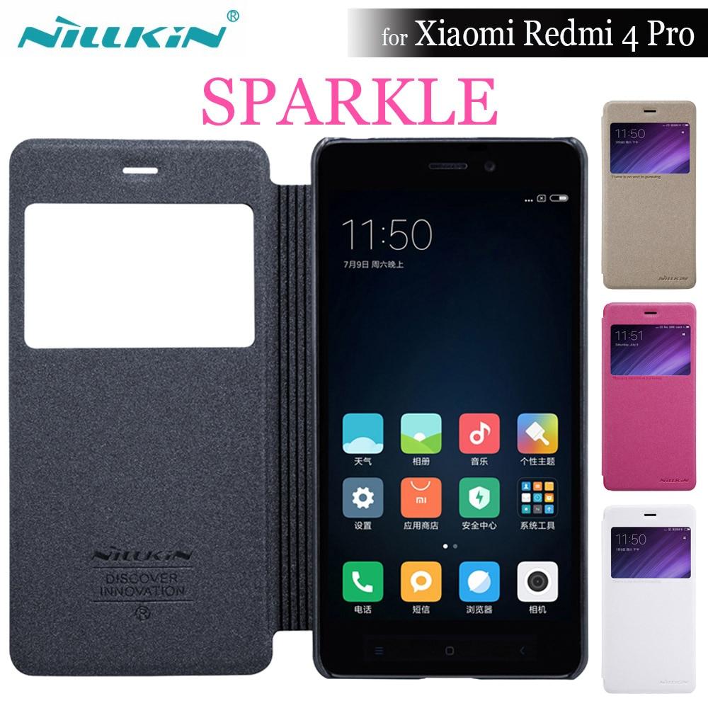 Xiaomi Redmi 4 Pro Case NILLKIN Sparkle Super thin flip cover leather case for Xiaomi Redmi 4 pro Prime (5.0'') + Smart Window