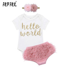 b169aa703a Newborn Baby Girls Clothes Romper Toddler Hello World Outfit Short Sleeves  Baby Girl Romper Jumpsuit with Bloomers and Headband