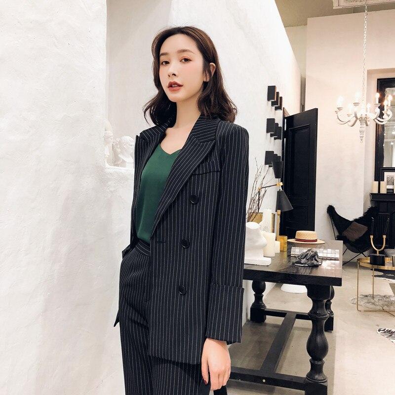 Breasted Black 2143 Femmes 2018 Feminino Formelle Pour Costumes Casual Ayunsue Double Suitpants Nouvelle coréen Blazer Rayé Blaser q7xp1zZwa
