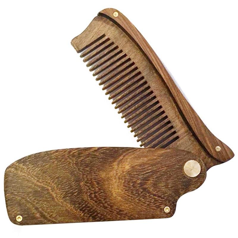 Black Gold Sandalwood Men'S Folding Comb Portable Wooden Comb Sandalwood Beard Shape Comb