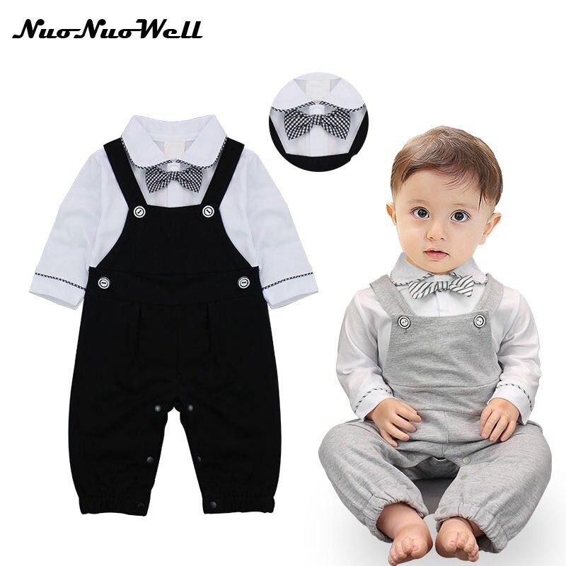 New Boy Cotton Gentleman Romper Jumpsuit Clothes Newborn Baby Infant Kids