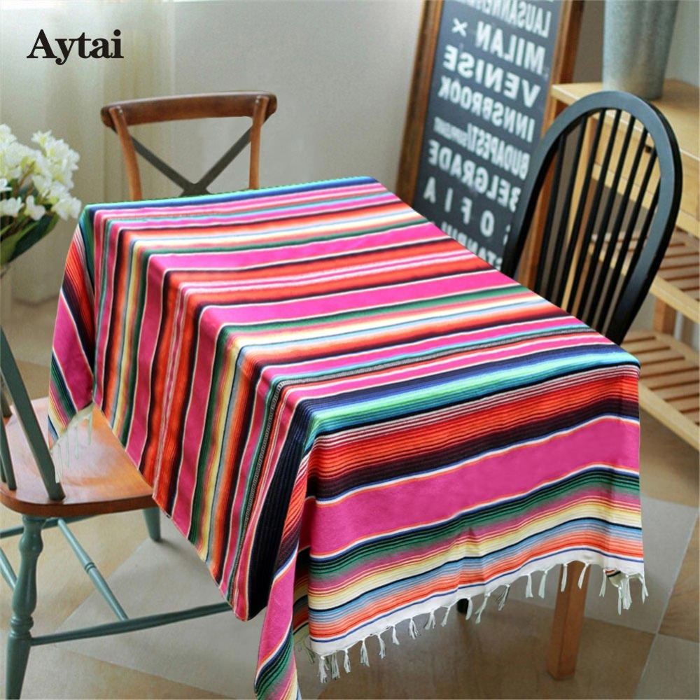 Aytai Mexican Tablecloths Color Mixing Mexican Blanket ...
