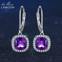 LAMOON 6mm 2 4ct 100 Natural Purple Amethyst 925 Sterling Silver Jewelry White Gold Platinum Plated