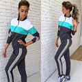 2016 Autumn Winter Women Tracksuit Large Multi-color Stitching Maternity Sweatsuit Long Sleeve Suits Lady Two Pieces Sets z5
