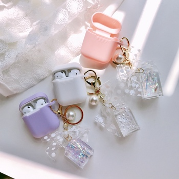 Wireless Earphone Protective Cover Laser Perfume Bottle Pearl Keychain Silicon Case For Apple AirPods 1 2 Headphone Charging Box