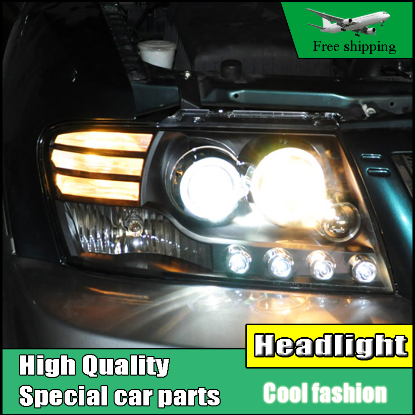 Car Styling head lamp For Mitsubishi Pajero V73 headlights 2004-2013 LED Angel eyes led DRL Headlight Bi-Xenon Lens xenon HID car styling for chevrolet trax led headlights for trax head lamp angel eye led front light bi xenon lens xenon hid kit