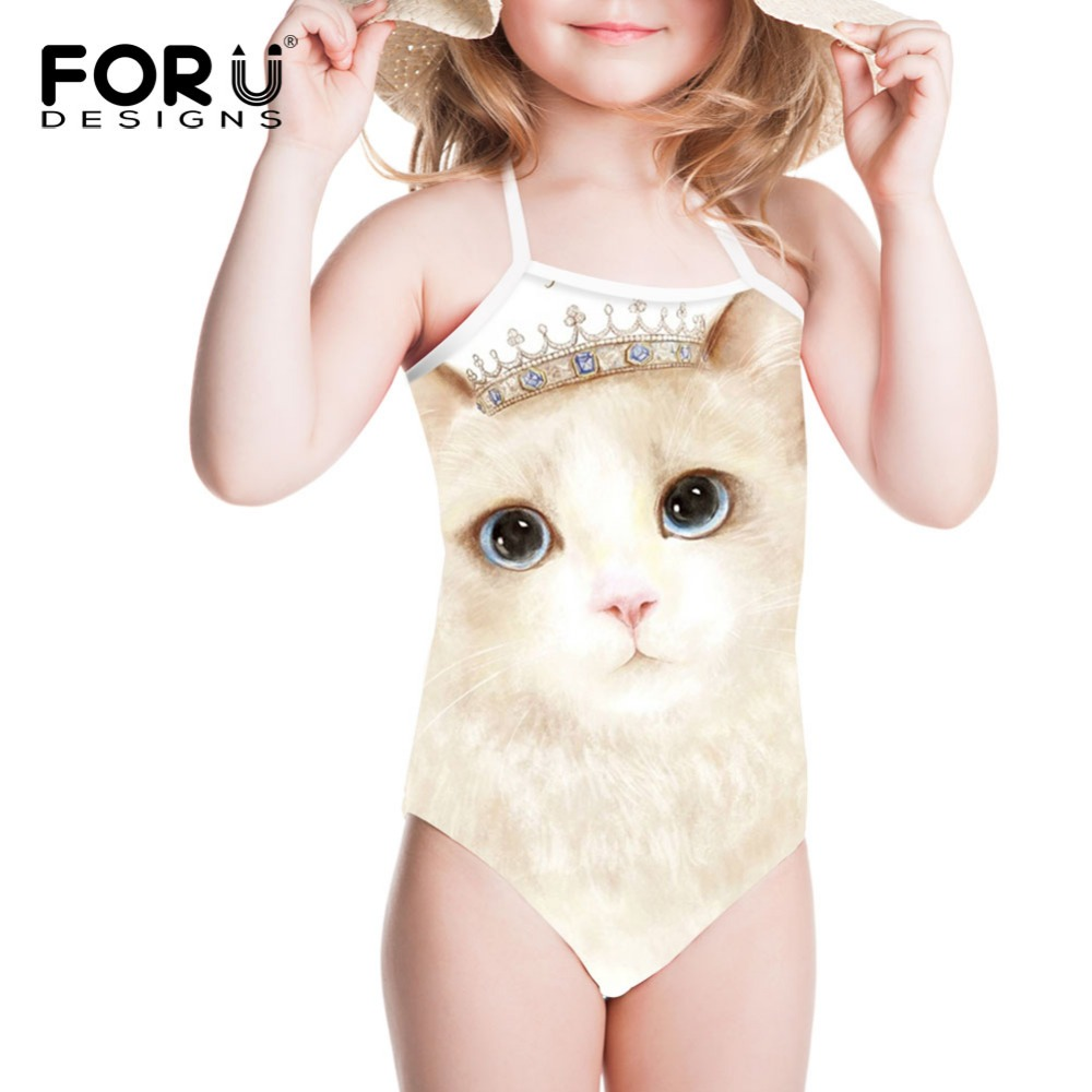 FORUDESIGNS 2018 Children Swimsuit Girls One Piece Swimwear Cute Princess Cat Print Female Bathing Suit Swim Wear Baby Bikinis