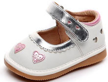 little girls squeaky shoes squeakers 1-3 years kids handmade love hearts spring autumn nina sapatos fun baby silver