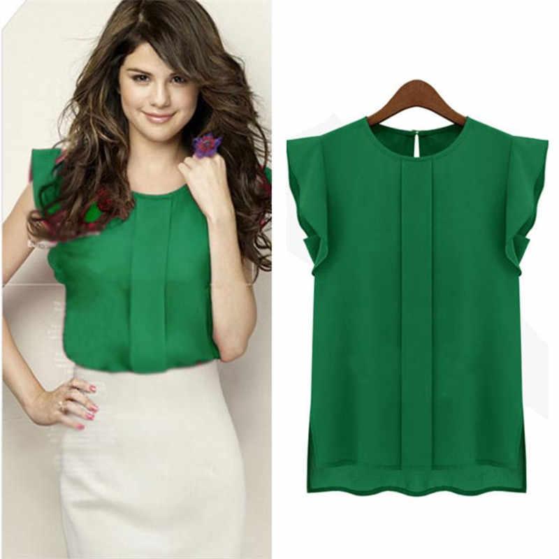 Блузка из шифона с коротким рукавом для девочек; летние женские топы; коллекция 2017 года; блузка для девочек в Корейском стиле