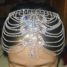 Свадебный головной убор с кристаллами, стразы, цепочка с захлопывающимся колпачком, свадебные аксессуары Гэтсби, вечерние украшения на голову