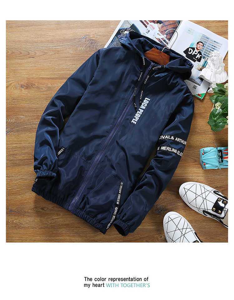 b10682b92ef Brand Young Men Hooded Thin Jacket Plus Size Quick Dry Windbreaker ...